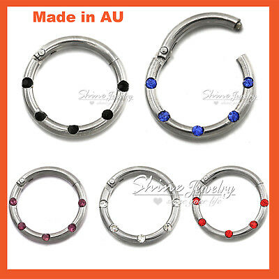 Titanium Seamless Segment Hinged Hoop Clicker Septum Lip Ear Nose Ring Piercing