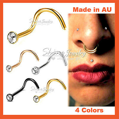 1 x Titanium Surgical Steel Lab Diamond Nose Stud Bone Body Piercing Ring Gift