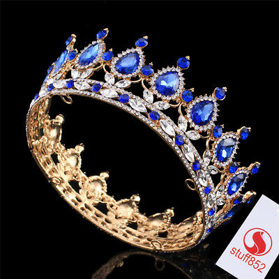 Sapphire Blue Crystal Teardrop Royal Crown Prom Gold King Queen Rhinestone Tiara