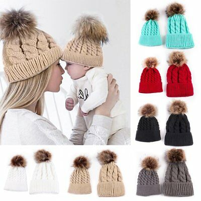 2PCS Mom Mother+Baby Knit Pom Bobble Hat Kids Girls Boys Winter Warm Cotton Cap