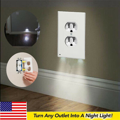 US Pro Duplex Night Angel Light Sensor LED Plug Cover Wall Outlet Coverplate Lot