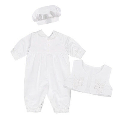 Infant Baby Boys White Satin Christening Baptism Outfit Romper Vest Suit Hat Set