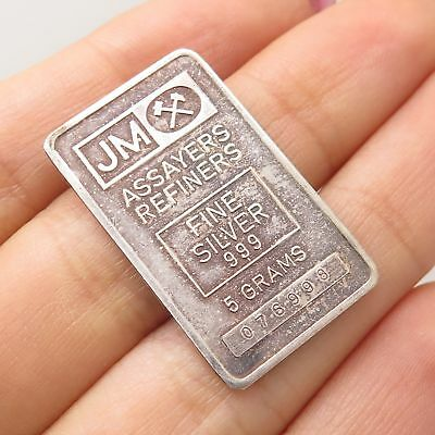 Johnson Matthey JM 999 Fine Silver 5 Grams Assayers Refiners Bar