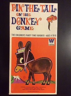 Whitman 1970 Pin The Tail On The Donkey Children's Party Game 100 % COMPLETE