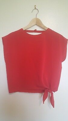 VINTAGE 80's Red Crop Top, Katies, Size 12, EXCELLENT Condition, festival!