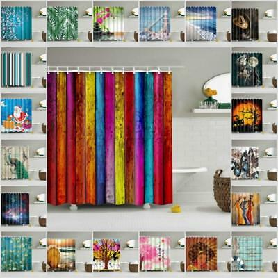 Various Pattern Shower Curtain Bathroom Waterproof Polyester Fabric With 12 Hook