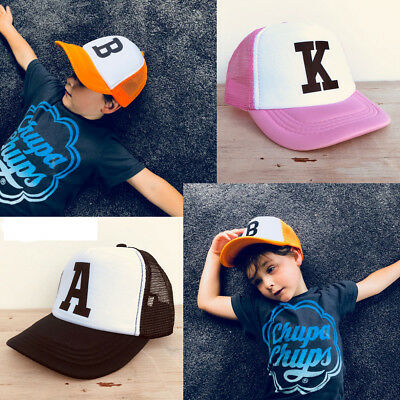 Adjustable Boys Girls Kids Hat Mesh Trucker Hat Personalised Letter Toddler Caps