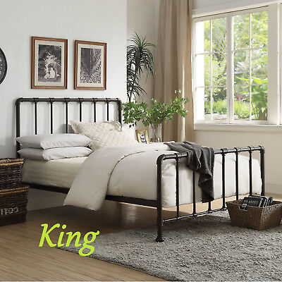 New York Industrial Metal Rustic Hollow Tube Scaffold Pipe  Style Bed Frame