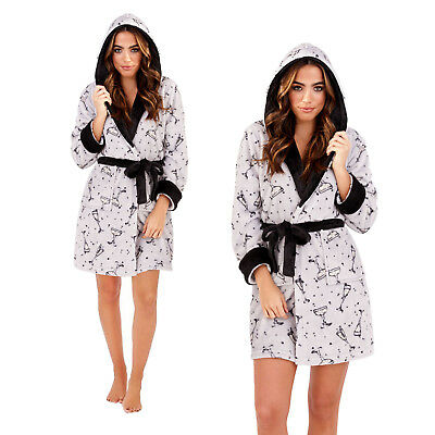 Loungeable Womens Designer Luxury Fleece Prosecco Dressing Gown Ladies Bath Robe