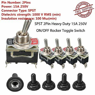 5Pc SPST 2Pin Heavy Duty 15A 250V ON/OFF Rocker Toggle Switch+Waterproof Boot T@