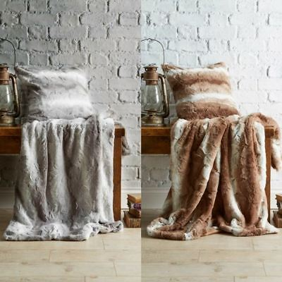 Luxury Faux Fur Throw Blankets & Cushion Covers Velvet Fleece Super Soft & Cosy