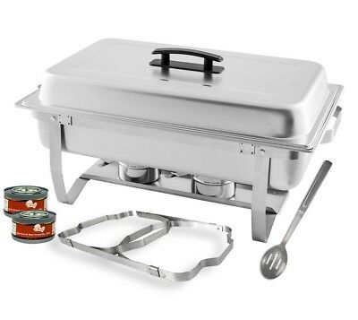 Chafer Steel Stainless Dish Chafing Buffet 8 Qt Size Full Catering Chafing Gels