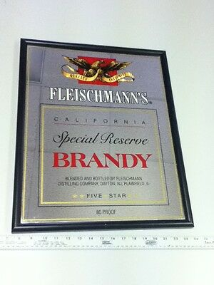Fleischmann's beer sign brandy Special Reserve liquor bar mirror California KT9
