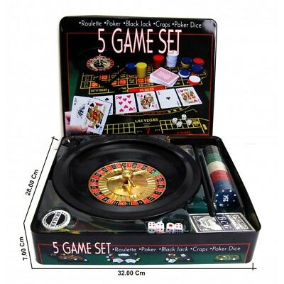 5 IN 1 Casino Game Set Roulette Poker Black Jack Craps Poker Dice Party Game