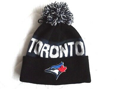 BLUE JAYS Toronto Black Navy POMPOM BEANIE TUQUE Hat OSFA Baseball MLB bobble