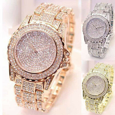 Women's Stainless Steel Watch Ladies Luxury Diamonds Analog Quartz Wrist Watches