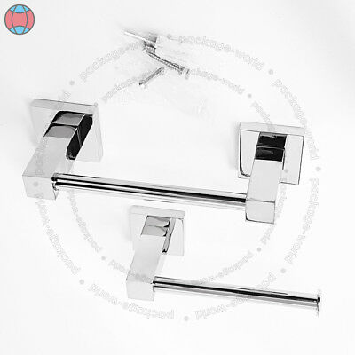 New HAND TOWEL & TOILET PAPER TISSUE CHROME DISPENSER HOLDER STAND WITH FITTING