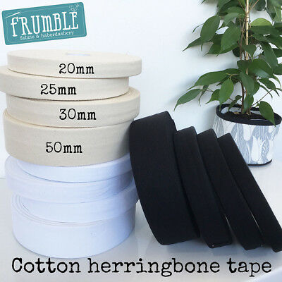 Natural/White/Black Cotton Twill Herringbone 50m Bulk Roll - Bunting Tape Twill