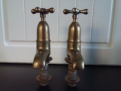 Pair Vintage Brass Sink Taps