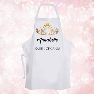 Personalised Queen Of Cakes Crown Baking Cooking Apron Ideal Unique Gift