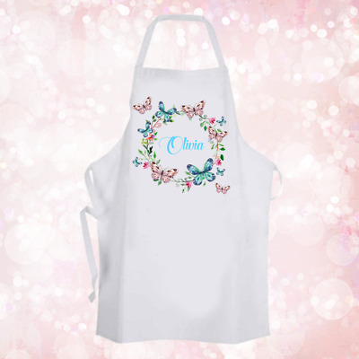Personalised Whimsical Butterfly Wreath Baking Cooking Apron Ideal Unique Gift