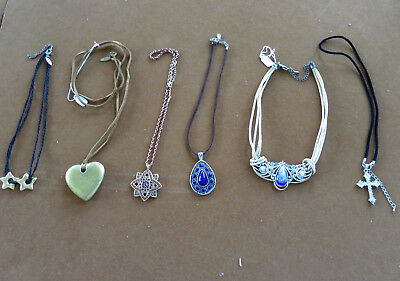 Lot of 6 Vintage Estate Jewelry Misc Lot Necklaces Beads Rhinestones Cross #11