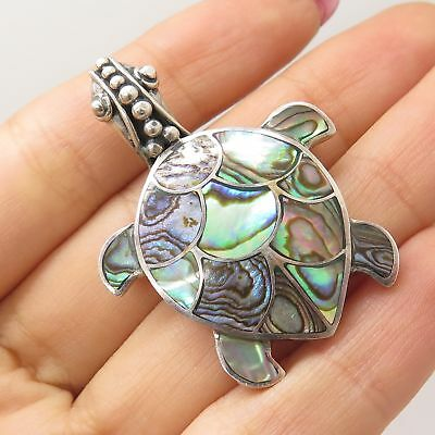 935 Silver Real Abalone Shell Sea Turtle Good Luck Pin Brooch Pendant
