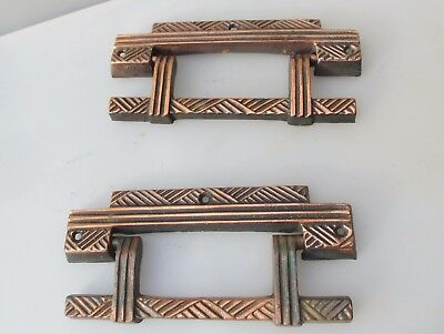 Large Antique Chest Handles Drawer Drop Pulls Coffin Copper Plated Vintage Old