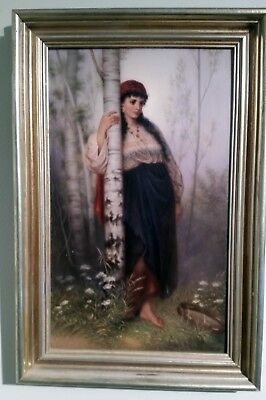 KPM Porcelain Plaque of Maiden by a Tree with Tambourine. Gorgeous! Initialed.