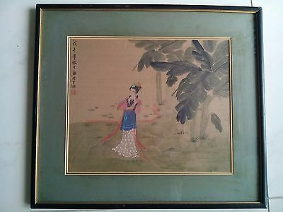 Beautiful Antique Chinese Painted Lady Landscape Original Painting Good Framed