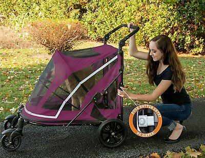 Pet Gear NO-ZIP Expedition Pet Stroller Boysenberry or Fog w/ adjustable handle