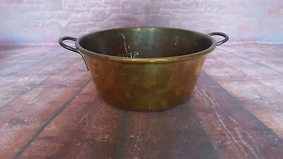 Antique Vintage Old Brass Jam Pot Cooking Handles French Garden Planter