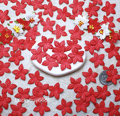100 Red Mulberry Paper Christmas Poinsettias Flower Scrapbook Craft