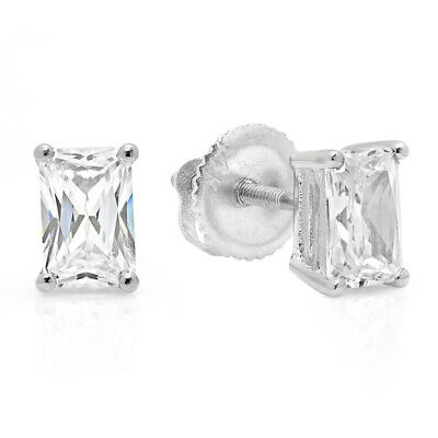 2 ct Emerald Cut Solitaire Stud Earrings Solid 14k Real White Gold Screw Back