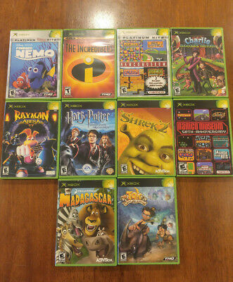 KIDS 10-PACK OF Games Bundle Lot Original Xbox! Tak, Nemo, Shrek, Harry,  Incredi