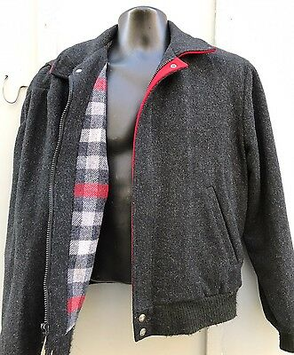 Mens Vintage Woolrich USA Wool Bomber Jacket Gray Red Checked Lining Sz M