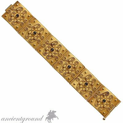 1800-1850 AD SOLID GOLD 18 CARATS MEN BRACELET WITH 6 REAL SAPPHIRES , 75.50 gr