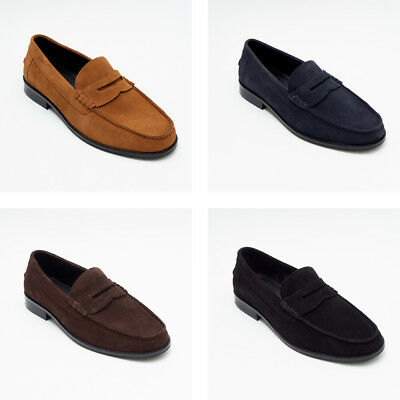 Lucini Slip on Mens Real Suede Leather Moccasin Loafers Shoes in All Size Colors