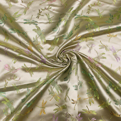 Sage and Gold Vintage Embroidery Dragonfly on Woven Satin Fabric