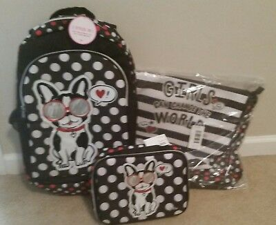 """NWT Justice """"Pawsitivity"""" 2-Sided Backpack, Lunch Box, and Laptop Bag"""