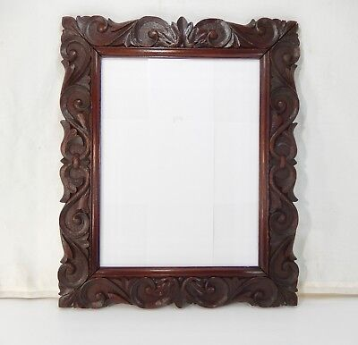 Antique Hand Carved Oak Mirror with Dark Hand-Rubbed Finish. England 1880's