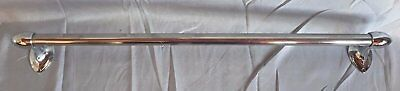 "Vintage  deco 26"" Chrome Towel Bar Bullets Ends Old Bathroom Kitchen 213-17J"