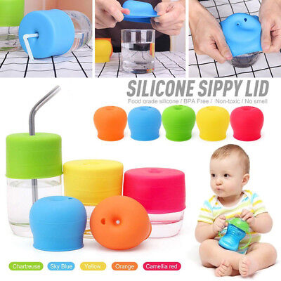 Safe Mug Lid Straw Spill-Proof Cup Cover Baby Toddler Anti-choke Silicone Sippy
