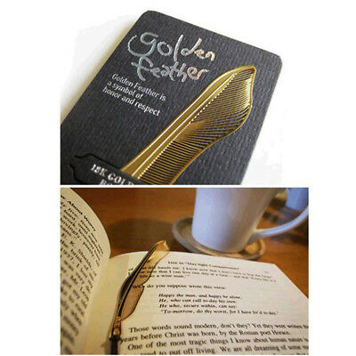 Simple Novelty 1pc Gold Plated Metal Hollow Feather Bookmark Book Paper Reading