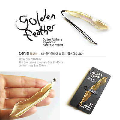 Simple 1pc Gold Plated Metal Hollow Animal Feather Bookmark Book Paper Reading