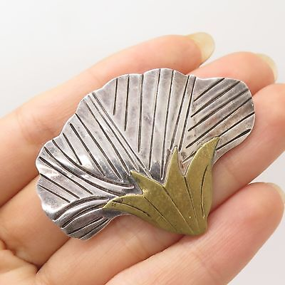 Vtg Mexico 925 Sterling Silver 2 Tone Large Floral Handmade Pin Brooch Pendant