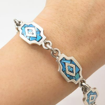 Vtg Mexico 925 Silver Real Turquoise Gem Inlay Handmade Tribal Link Bracelet 8""