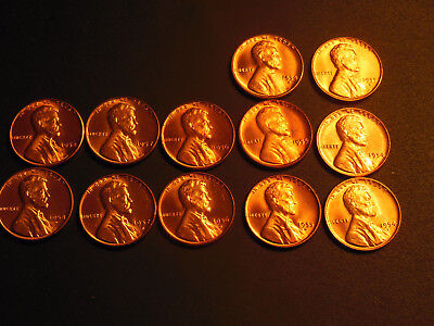 1954 P,D,S BU Red Lincoln Cents.