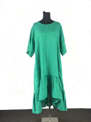 Di Moda Italian made 100% Pure Linen Plus-Size Green Long Dress