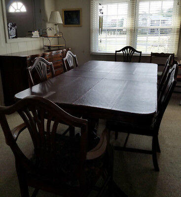 Duncan Phyfe Dining Set: Pedestal Table, Pads, 6 Chairs, Buffet, & China Closet